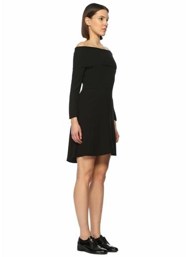 Theory Kayık Yaka Mini Elbise Siyah